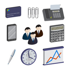 Set of isometric business items isolated on a vector