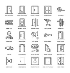doors installation repair line icons various vector image