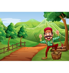 A cheerful woodman near the pathway going to the vector image
