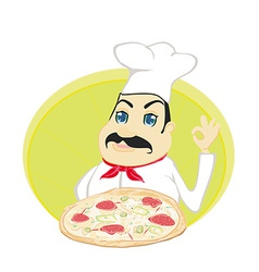 Chef cook with pizza vector
