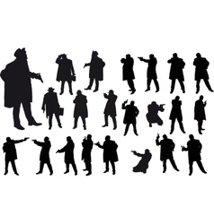 Black gangster silhouette vector