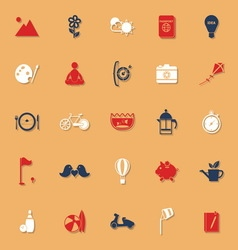 Slow life activity classic color icons with shadow vector