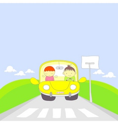 Cute cartoon couple traveling by car vector