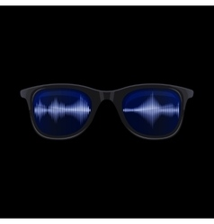 Sunglasses with sound wave reflection vector