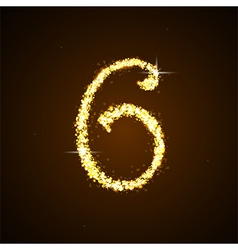 Number six of gold glittering stars vector