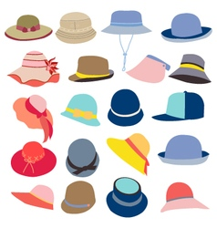 Collection of hats for men and women vector