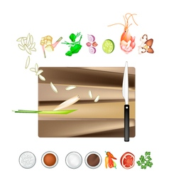 Tom yum goong or thai spicy and sour soup recipe vector