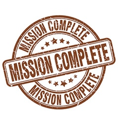 Mission complete brown grunge round vintage rubber vector