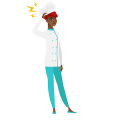 African chef cook with lightning over her head vector