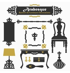 Arabesque silhouette furniture design elements set vector image
