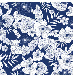 blue drawing tropical summer hawaiian vector image vector image