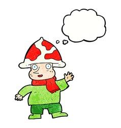 Cartoon mushroom man with thought bubble vector