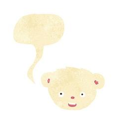 Cartoon polar bear face with speech bubble vector