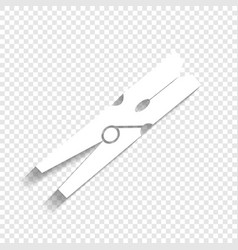 Clothes peg sign white icon with soft vector