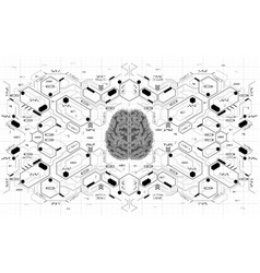 conceptual polygonal brain with hud elements vector image vector image