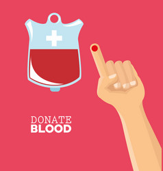 Donate blood hand drop test vector