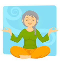Elder woman meditating vector