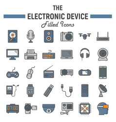 Electronic device colorful line icon set vector