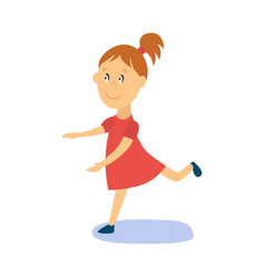 flat cartoon girl kid dancing isolated vector image