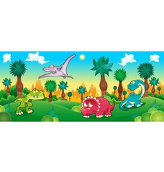 Green forest with dinosaurs vector image vector image