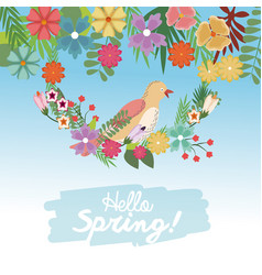 Hello spring bird on branch flowers cute nature vector