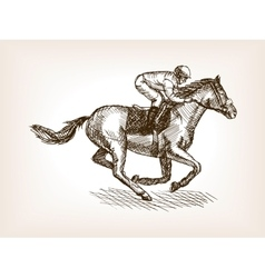 Horse races sketch style vector