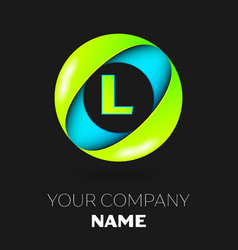 letter l logo symbol in the colorful circle vector image vector image