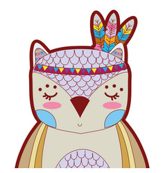 Line color cute owl animal with feathers vector