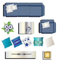 Living room furniture top view set 8 for interior vector image vector image