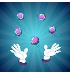 Magician hands show magic trick vector