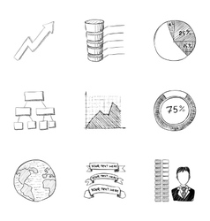 Marketing icons set hand drawn style vector
