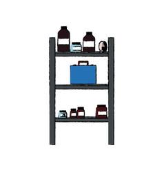 Medicine pharmacy bottle tape healthy shelf vector