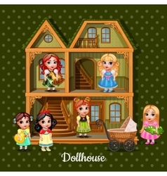 Modern three-storey dolls house with six dolls vector