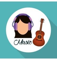 Music design girl icon white background vector