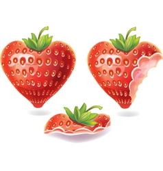 Nibbled strawberry vector