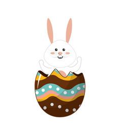 Nice rabbit inside of decotive egg vector
