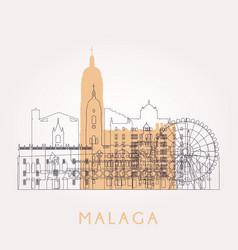 Outline malaga skyline with landmarks vector