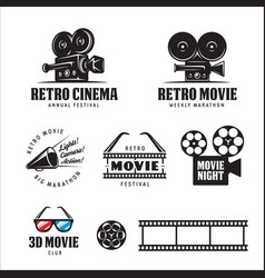 Retro cinema labels set vintage vector