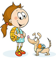 School girl and dog with schoolbag - vector