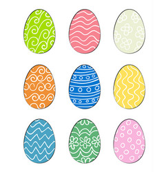 set of hand drawn easter eggs vector image vector image