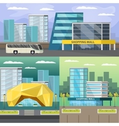 Shopping Mall Orthogonal Compositions Set vector image vector image