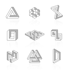 Trendy optical shapes on white vector