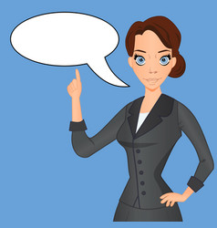 woman in business suit with speech bubble vector image vector image