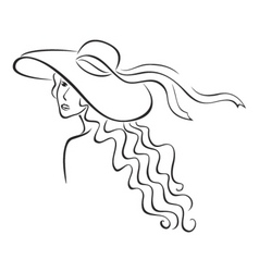 woman in hat vector image