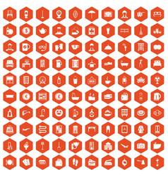 100 inn icons hexagon orange vector