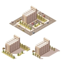 Isometric low poly hotel vector