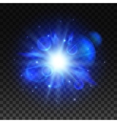Blue star light space burst flash vector image