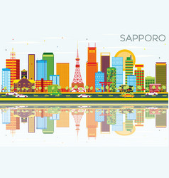 sapporo skyline with color buildings blue sky and vector image