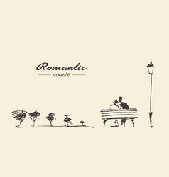 Romantic sketch loving couple bench drawn sketch vector