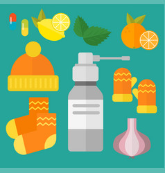Influenza and cold themed design elements in vector